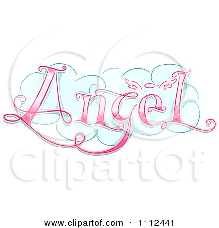 Clipart Cloud With Pink Angel Text - Royalty Free Vector Illustration by BNP Design Studio