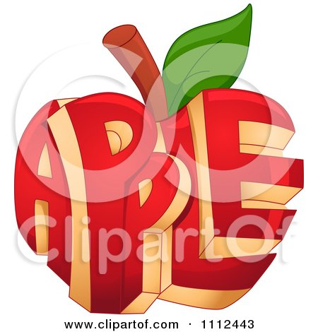 Clipart Carved Red Apple With Text - Royalty Free Vector Illustration by BNP Design Studio