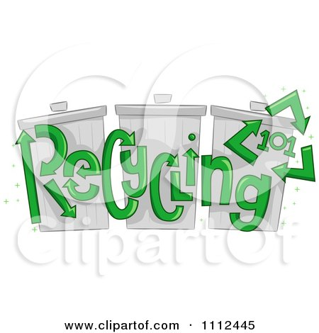 Clipart Recycling 101 Text Over Trash Bins - Royalty Free Vector Illustration by BNP Design Studio
