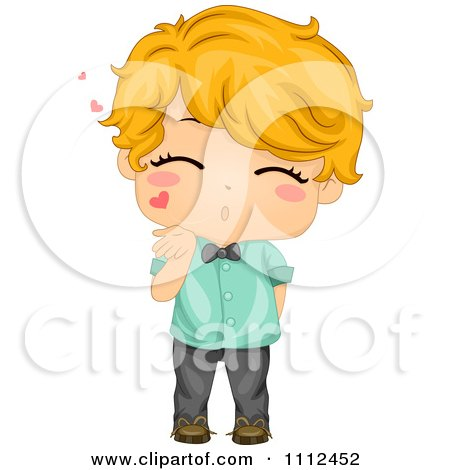 Cute Blond Boy Blowing Air Kisses Posters, Art Prints