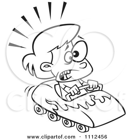 Clipart Outlined Scared Girl On A Roller Coaster - Royalty Free Vector Illustration by toonaday