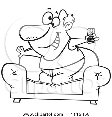 Clipart Outlined Couch Surfer Guy Standing On His Sofa With A TV Remote Control - Royalty Free Vector Illustration by toonaday