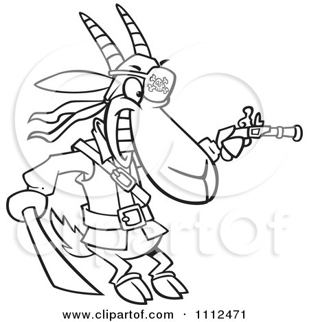 Clipart Outlined Pirate Goat Holding A Sword And Pistol - Royalty Free Vector Illustration by toonaday