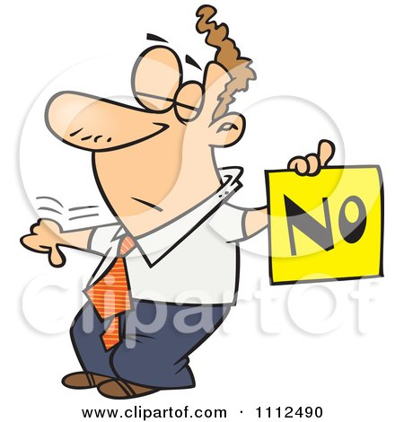 Clipart Displeased Man With A Thumb Down Holding A NO Sign - Royalty Free Vector Illustration by toonaday