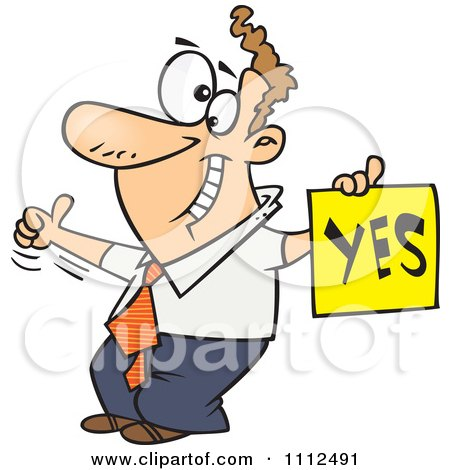 Clipart Displeased Man With A Thumb Up Holding A YES Sign - Royalty Free Vector Illustration by toonaday