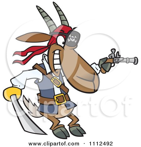 Clipart Pirate Goat Holding A Sword And Pistol - Royalty Free Vector Illustration by toonaday