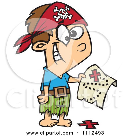Clipart Pirate Boy Holding A Map Over The X On The Ground Royalty Free Vector Illustration