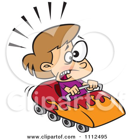 Clipart Scared Girl On A Roller Coaster - Royalty Free Vector Illustration by toonaday