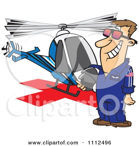Clipart Proud Helicopter Pilot Man Standing By His Chopper - Royalty Free Vector Illustration by toonaday