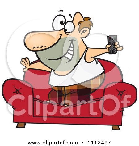 Clipart Couch Surfer Guy Standing On His Sofa With A TV Remote Control - Royalty Free Vector Illustration by toonaday