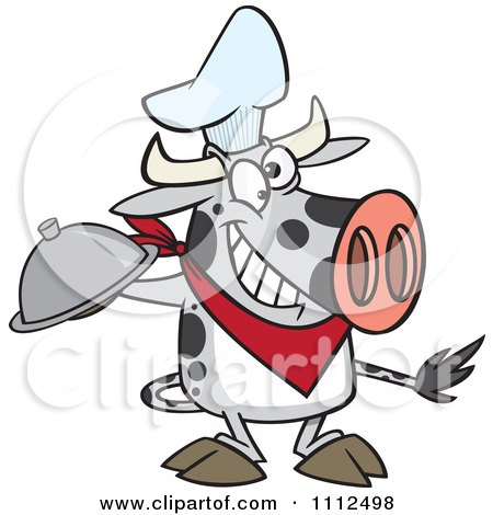 Clipart Chef Cow Holding A Cloche Platter - Royalty Free Vector Illustration by toonaday