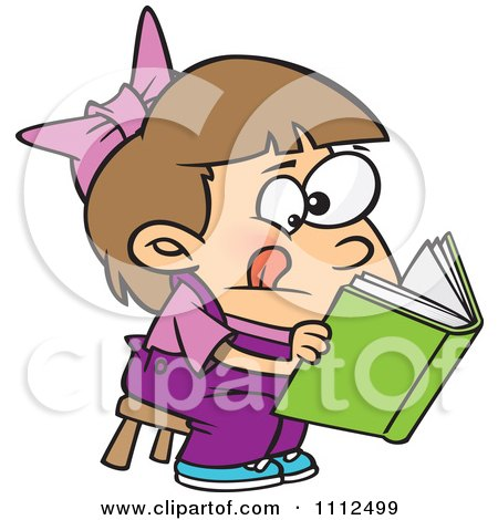 Clipart Girl Trying To Decipher Information In A Book - Royalty Free Vector Illustration by toonaday