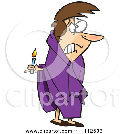 Clipart Scared Woman With A Candle In The Dark - Royalty Free Vector Illustration by toonaday