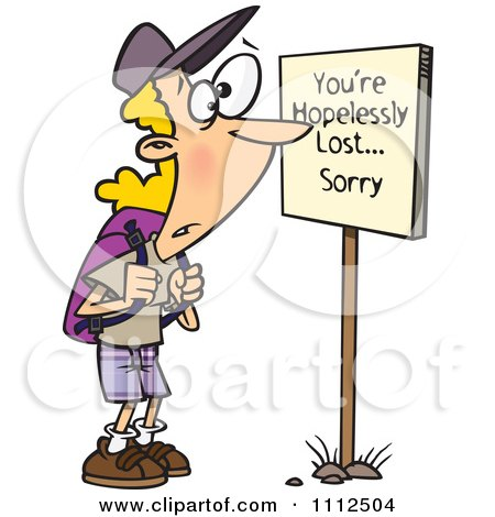 Clipart Hiker At A Youre Hopelessly Lost Sorry Sign - Royalty Free Vector Illustration by toonaday