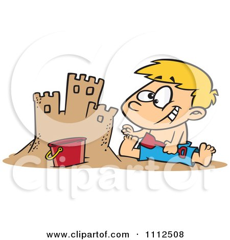 Clipart Boy Making A Sand Castle On A Beach - Royalty Free Vector Illustration by toonaday