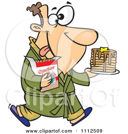 Clipart Man Eating Pancakes And Cracker Jacks For A Midnight Snack - Royalty Free Vector Illustration by toonaday