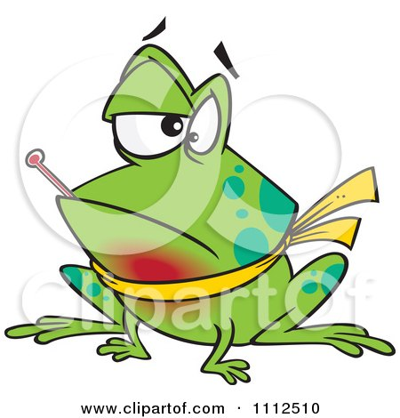 Clipart Sick Frog With A Sore Throat And A Fever - Royalty Free Vector Illustration by toonaday