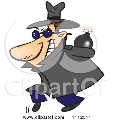 Clipart Sneaky Spy Carrying A Bomb Behind His Back - Royalty Free Vector Illustration by toonaday