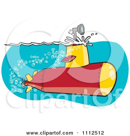 Clipart Submarine With The Scope Above The Surface - Royalty Free Vector Illustration by toonaday
