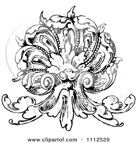 Clipart Vintage Black And White Ornate Scallop Shell Design Element - Royalty Free Vector Illustration by Prawny Vintage