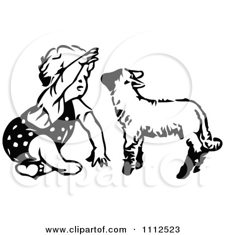 Clipart Cute Black And White Retro Toddler Girl Playing With A Lamb - Royalty Free Vector Illustration by Prawny Vintage