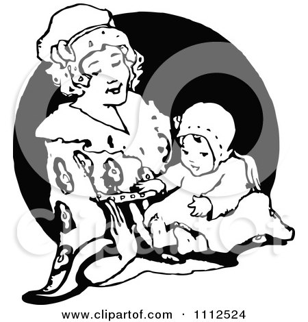 Clipart Vintage Mother Playing With Her Baby - Royalty Free Vector Illustration by Prawny Vintage