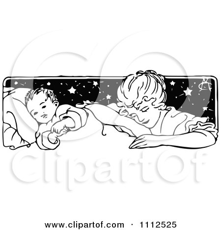 Clipart Vintage Mother Tucking Her Baby In - Royalty Free Vector Illustration by Prawny Vintage