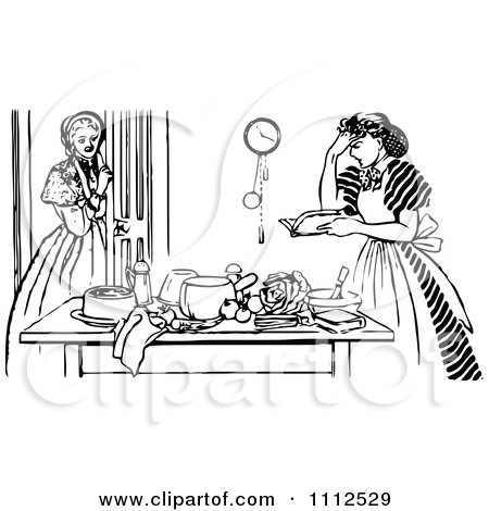 Clipart Vintage Black And White Girl Watching A Frustrated Woman Cook - Royalty Free Vector Illustration by Prawny Vintage