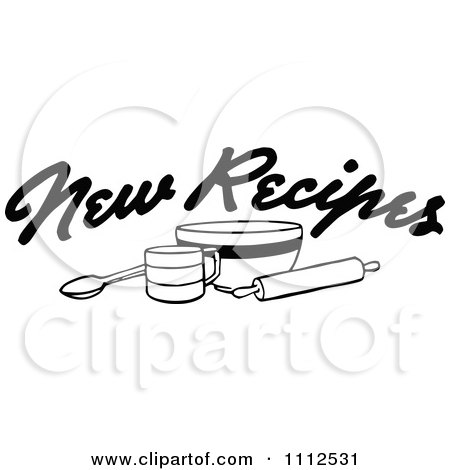Clipart Black And White New Recipes Text Over Baking Items