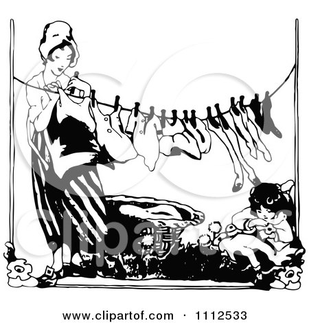 Clipart Vintage Black And White Woman Hanging Laundry As Her Daughter Rests - Royalty Free Vector Illustration by Prawny Vintage