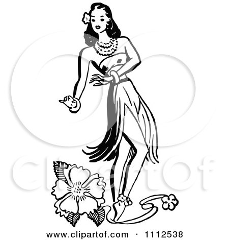 Clipart Retro Black And White Hawaiian Hula Girl Dancer And A Hibiscus Flower - Royalty Free Vector Illustration by Prawny Vintage