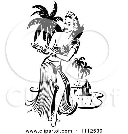 Clipart Retro Black And White Hawaiian Hula Dancer Near A Beach Hut - Royalty Free Vector Illustration by Prawny Vintage