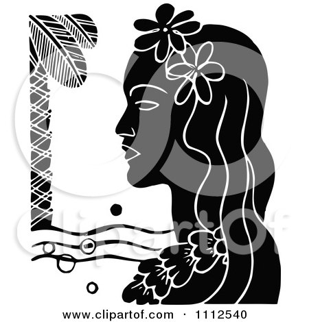 Clipart Retro Black And White Hawaiian Woman With A Floral Lei And Palm Tree - Royalty Free Vector Illustration by Prawny Vintage