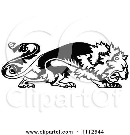 Clipart Vintage Black And White Floral Lion - Royalty Free Vector Illustration by Prawny Vintage