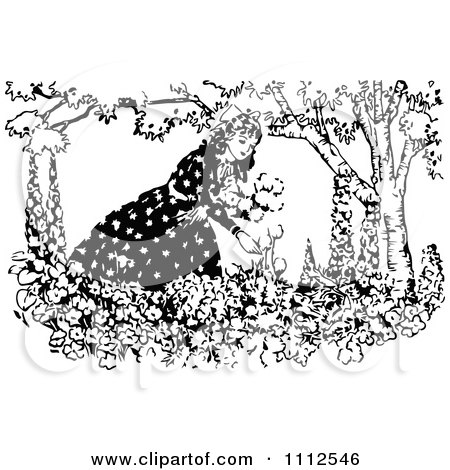 Clipart Vintage Black And White Woman Picking Flowers - Royalty Free Vector Illustration by Prawny Vintage