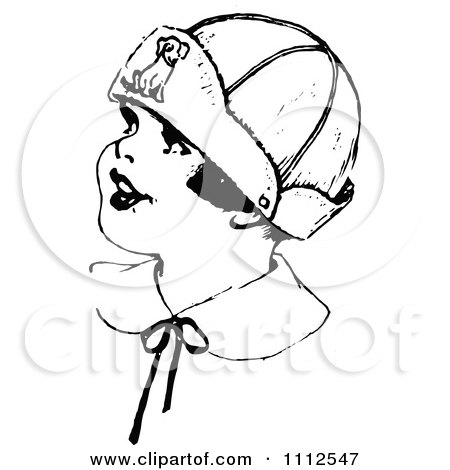 Clipart Retro Black And White Girl Wearing A Dog Hat - Royalty Free Vector Illustration by Prawny Vintage