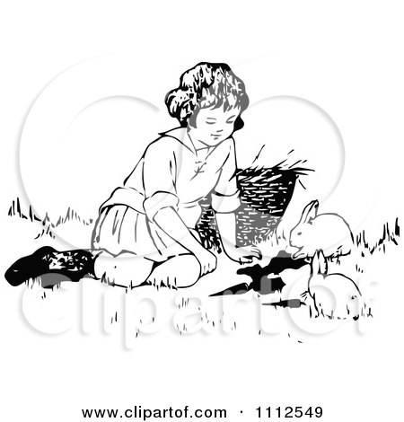 Clipart Retro Black And White Girl Playing With Bunnies - Royalty Free Vector Illustration by Prawny Vintage