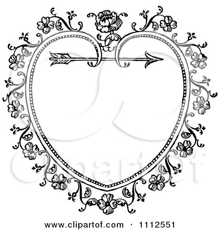 Clipart Black And White Ornate Vintage Floral Heart And Arrow Frame - Royalty Free Vector Illustration by Prawny Vintage