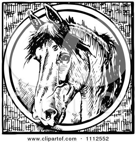 Clipart Vintage Black And White Horse Through A Circle - Royalty Free Vector Illustration by Prawny Vintage