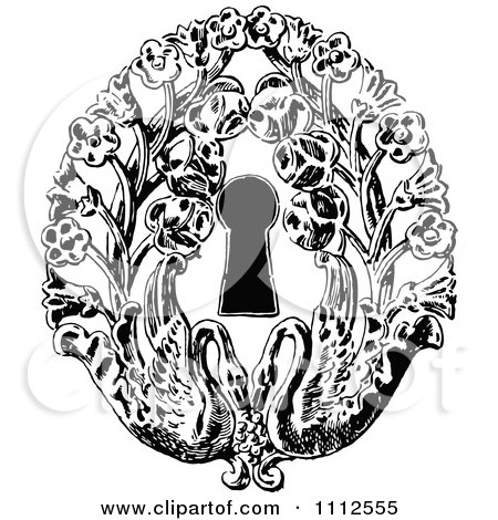 Clipart Vintage Black And White Keyhole With Flowers And Swans - Royalty Free Vector Illustration by Prawny Vintage