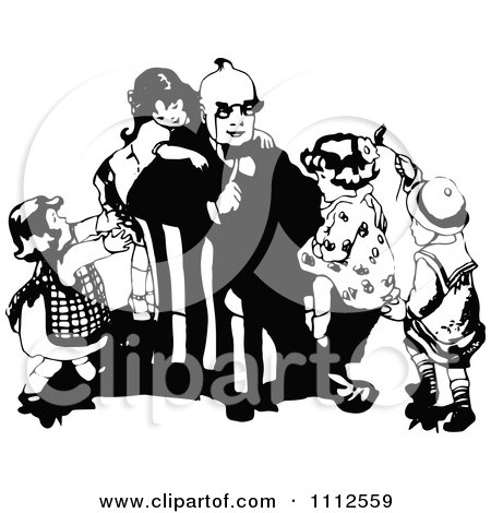 Clipart Vintage Black And White Children Climbing On Their Dad - Royalty Free Vector Illustration by Prawny Vintage