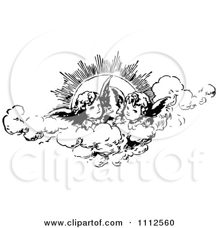 Clipart Vintage Cherubs In The Clouds Against The Sun - Royalty Free Vector Illustration by Prawny Vintage