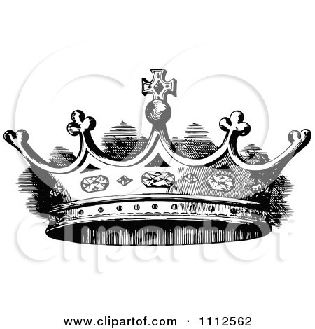 Clipart Vintage Black And White Coronet Crown 2 - Royalty Free Vector Illustration by Prawny Vintage