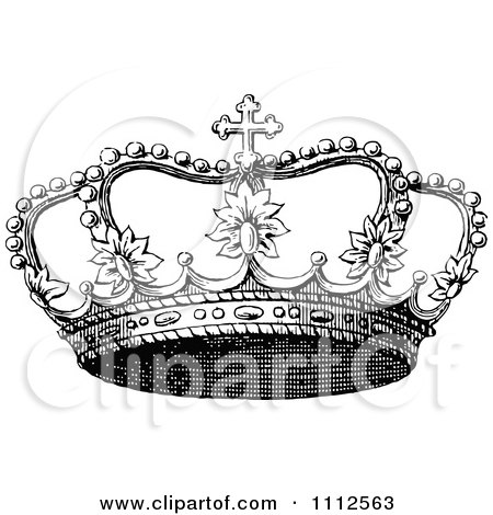 Clipart Vintage Black And White Coronet Crown 3 - Royalty Free Vector Illustration by Prawny Vintage