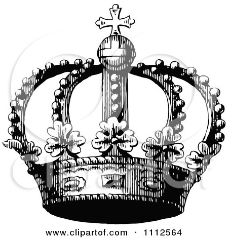 Clipart Vintage Black And White Coronet Crown 4 - Royalty Free Vector Illustration by Prawny Vintage