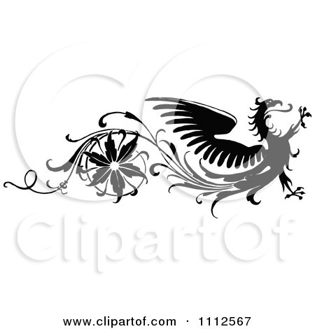 Clipart Vintage Black And White Floral And Dragon Design Element - Royalty Free Vector Illustration by Prawny Vintage