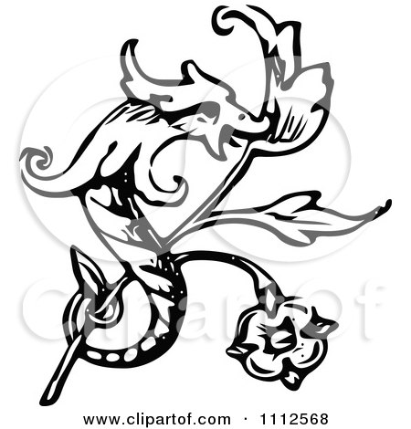 Clipart Vintage Black And White Dragon And Branch Design Element - Royalty Free Vector Illustration by Prawny Vintage
