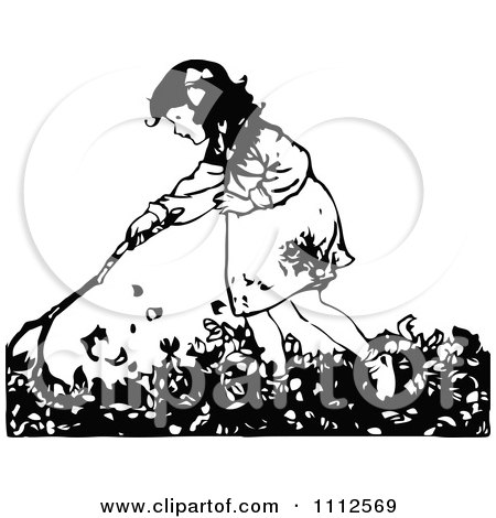 Clipart Retro Black And White Girl Raking Autumn Leaves - Royalty Free Vector Illustration by Prawny Vintage