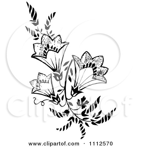 Clipart Vintage Black And White Floral Design Element - Royalty Free Vector Illustration by Prawny Vintage