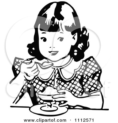 Clipart Retro Black And White Girl Eating Dessert - Royalty Free Vector Illustration by Prawny Vintage